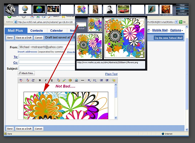 dragging images from the toolbar